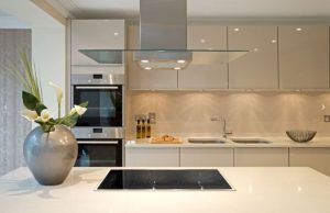 Modern kitchen with minimal frameless cabinets in white.
