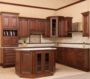 Cherry color wood kitchen cabinets.