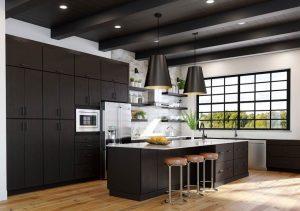 Minimal modern kitchen with espresso cabinets