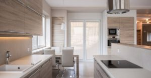 Contemporary kitchen design with light wood minimal cabinets