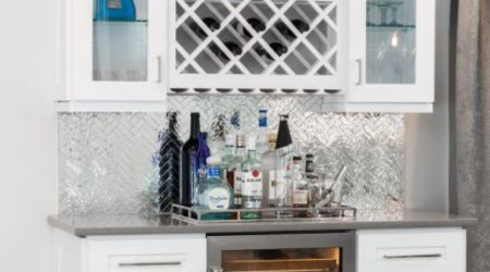 White wood cabinets with glass panels