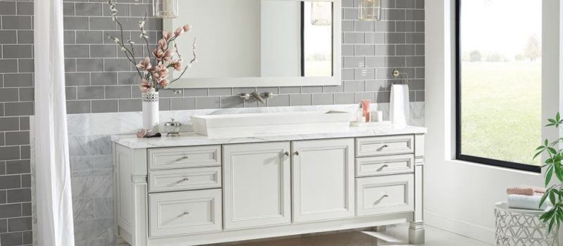 Elegant white bathroom cabinets