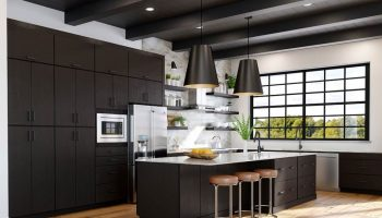 Minimal modern kitchen with espresso cabinets