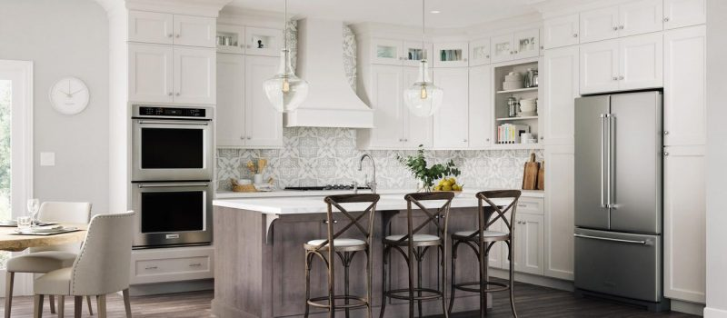 Modern kitchen with island and white cabinets